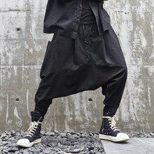 Мужские спортивные штаны для бега, темные Мужские штаны в японском стиле, свободные повседневные штаны-шаровары с заниженным шаговым швом, Мужская Уличная одежда в стиле хип-хоп, готические брюки