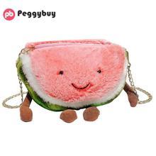 Милые сумки для маленьких девочек, сумки через плечо, плюшевые сумки на плечо с фруктовым узором, Детская цепь, сумка через плечо, повседневная женская сумка
