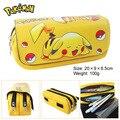 Pocket Monster Pikachu monedero bolsa multifuncional de doble cremallera bolsa cartera grande papelería