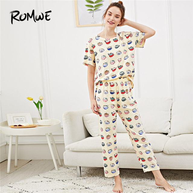 Casual Cartoon Multicolor Summer Sleepwear Round Neck Short