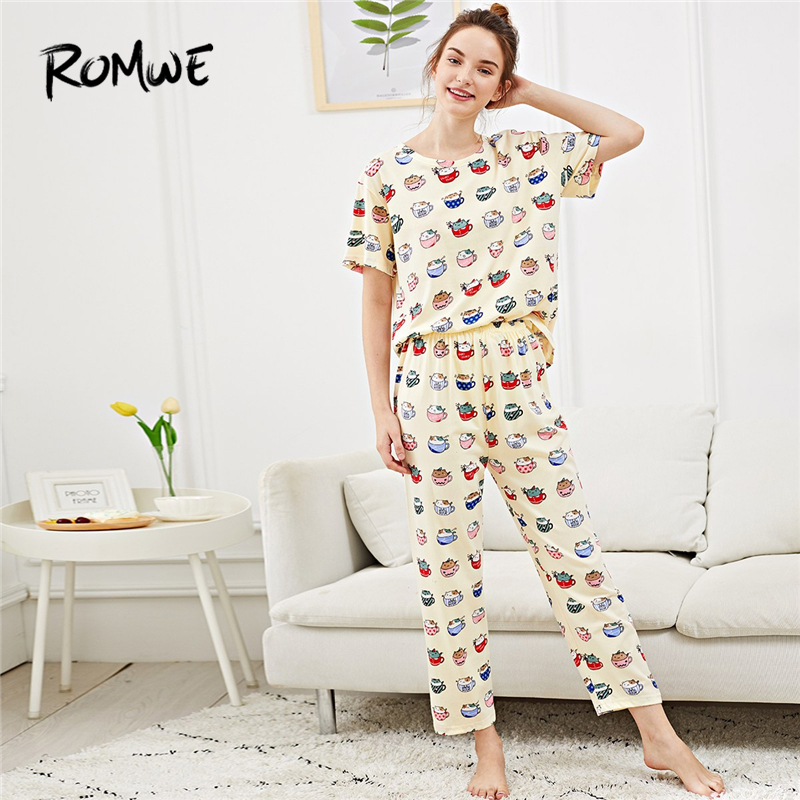 ROMWE All Over Cat Print   Pajama     Set   Woman Casual Cartoon Multicolor Summer Sleepwear Round Neck Short Sleeve New Style Nightwear