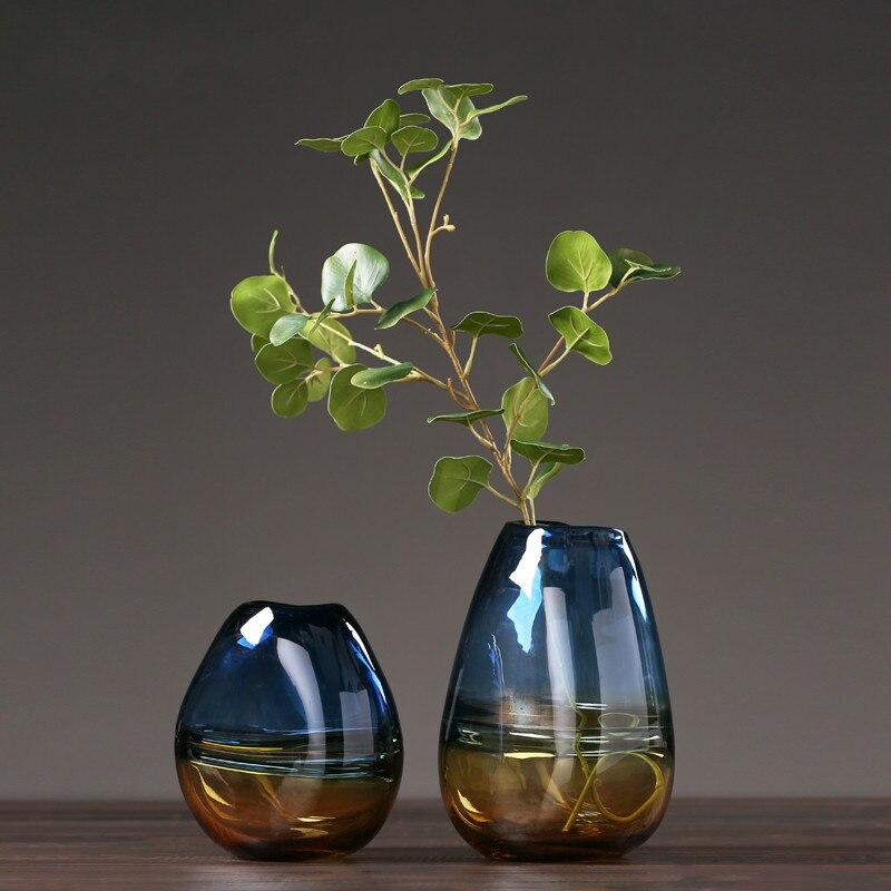 Blue Aqua Colored Glass Flower Vase - Home & Garden