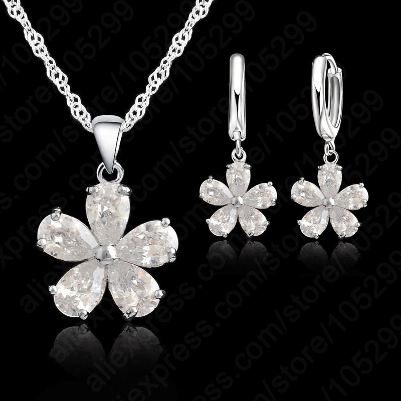 925 Sterling Silver Jewelry Sets For Women Accessories CZ Crystal  Wedding African Bridal Simulated Gemstone Jewelry Set