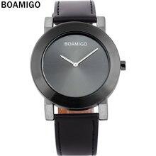BOAMIGO 2017 new popular brand men watches fashion casual quartz watches ultra-thin black large simple dials leather strap