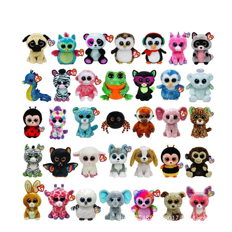 10pcs/lot Ty Beanie Boos Toy Doll Baby Girl Birthday Gift 15cm Big Eyes Stuffed Animal Doll Unicorn Owl Leopard Elephant Huskey gonlei ty beanie boos original big eyes plush toy doll child birthday gray elephant fish ty baby 10 15cm