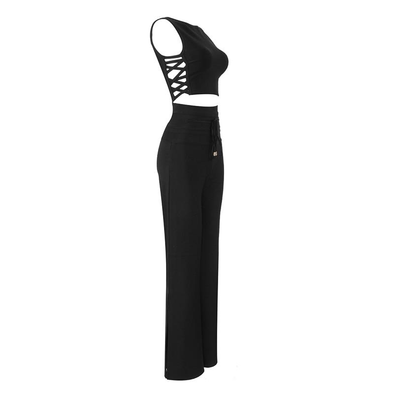 Mujeres Fiesta Verano Pantalones Negro 2 Hueco Cintura Celebridades Unidades Moda Para De Tops Otoño Lujo Vendaje Y Elástica La Conjunto xwWvZYq0