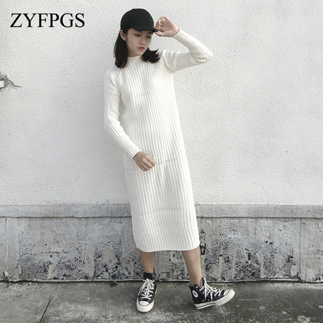 Zyfpgs 2018 Autumn Top Woman's Dress Wool Knitting Retro Style Dress Long Sleeve Elegant Girl Fashion Slim Fit Black White Z1004 by Zyfpgs