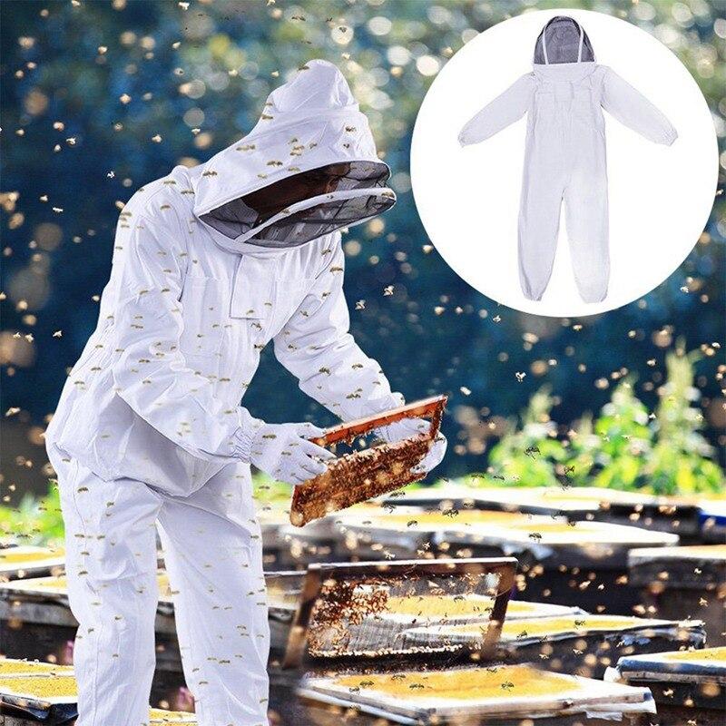 Vêtements apicoles blancs avec capuchon en voile vêtements veste apicole de protection costume abeille équipement fermeture à glissière interrupteur chapeau