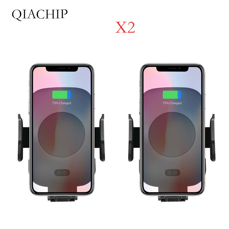 2PCS Car Wireless Charger Auto Infrared Sensor For iPhone X XS For Samsung Note 9 Automatic Wireless Charger Car Phone Air Vent