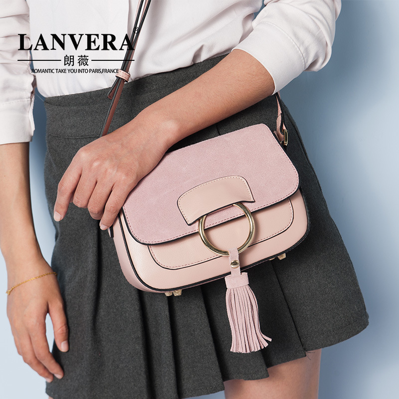 все цены на 2018 new leather handbags cowhide fashion ring tassel shoulder slung handbag