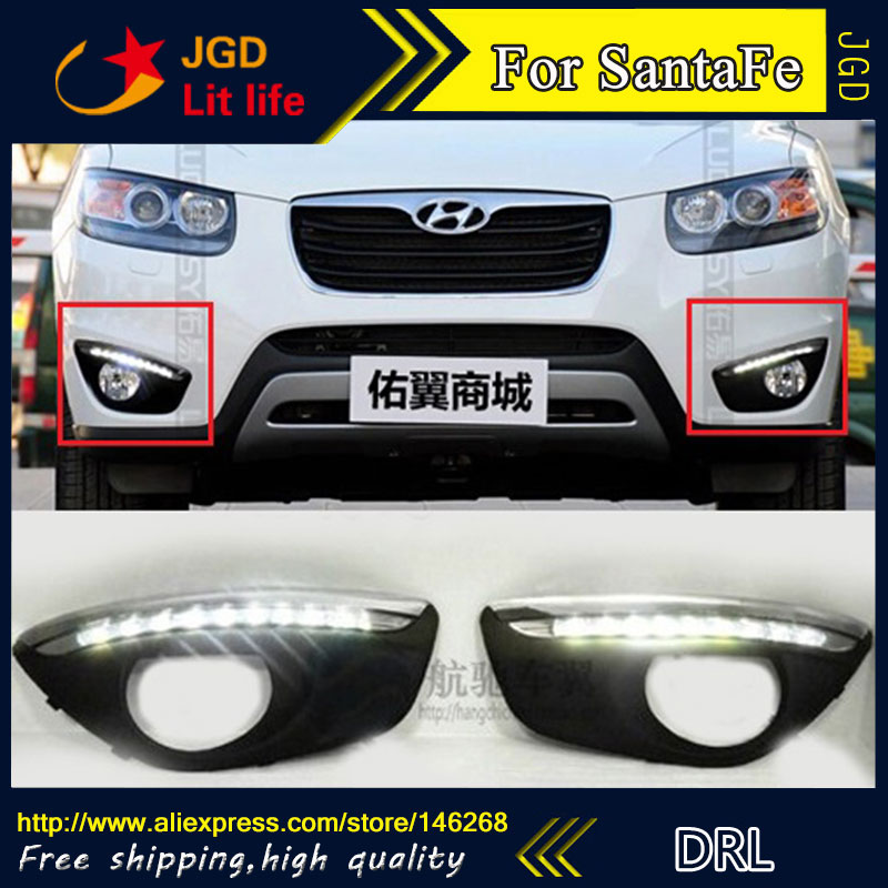 Free shipping ! 12V 6000k LED DRL Daytime running light for Hyundai Santa Fe 2010-2012 fog lamp frame Fog light Car styling free shipping 2pcs lot car styling lamp 7443 80w daytime running light with daytime running light for dacia duster hs 2010
