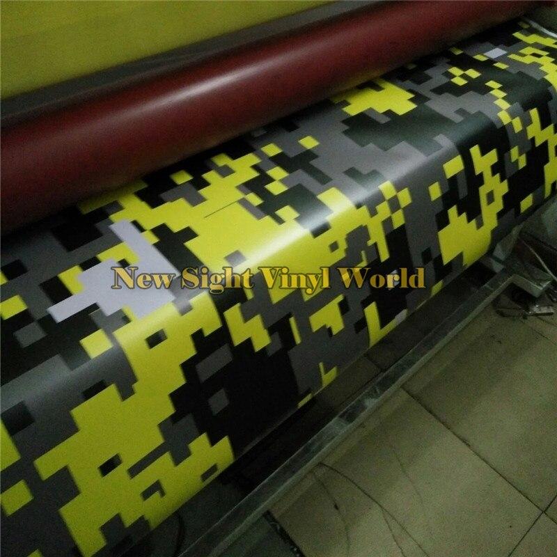 Желтый цифровой камуфляж виниловая пленка лист пиксельный Камуфляжный обёрточная бумага для грузовика внедорожника стикер без пузырей Ра... - 2
