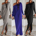 2017 New Women's Long Dresses Spring Autumn Dew Shoulder Long Sleeve Loose Dress Black Bat Sleeve Casual Side Slit Maxi Dress