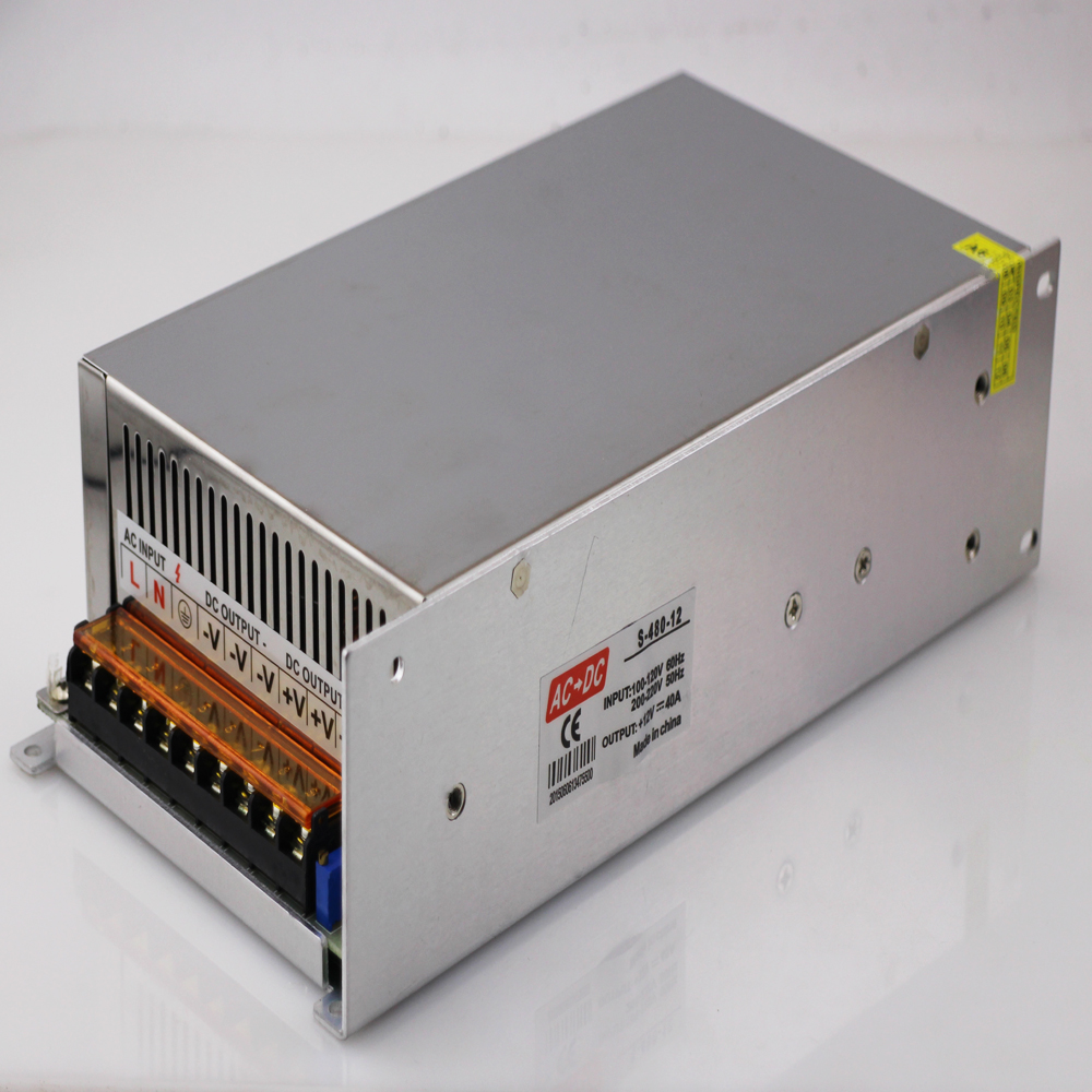Iron  Case DC 12V 40A LED Switch Power Supply Transformer for LED Strip Power LED AC100/220V Free Shipping