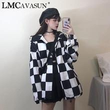 LMCAVASUN Black Punk Jacket Women Loose Long Sleeve White Black Checkerboard Pla