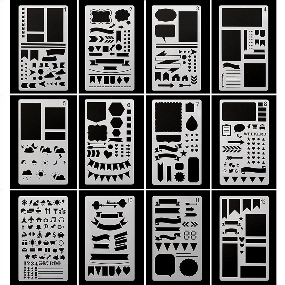 Bullet Journal Stencil Plastic Planner Stencils Journal/Notebook/Diary/Scrapbook DIY Drawing Template Stencil 4 x 7 Inch,12 Pcs