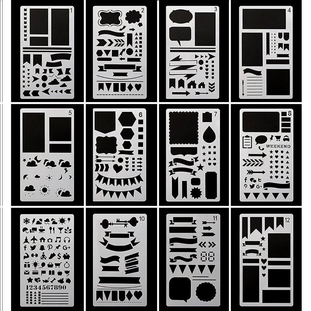 Journal Stencil Plastic Planner Stencils Journal/Notebook/Diary/Scrapbook DIY Drawing Template Stencil 4 x 7 Inch,12 Pcs