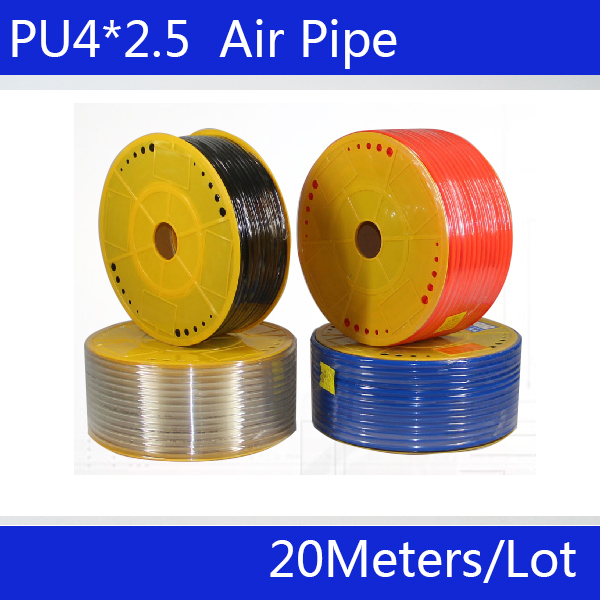 Free shipping Pneumatic parts 4mm PU Pipe 20M/lot for air pneumatic hose  luchtslang air hose 4*2.5 Compressor hose