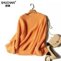 Shuchan трикотажные Куртки Пуловеры для женщин Кашемир Повседневное оранжевый o образным вырезом Для женщин Свитеры для женщин и Пуловеры для