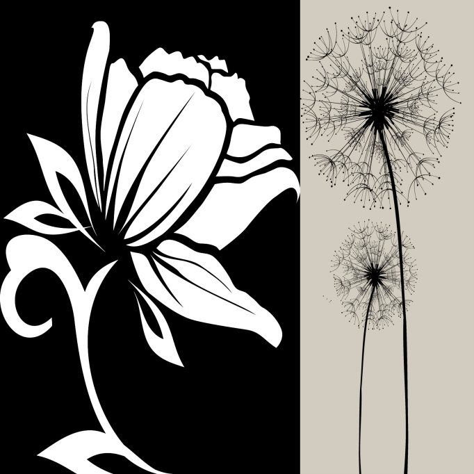 home decoration art black and white artwork pictures canvas prints simple abstract flowers 2pcs set sale with good pricein painting u0026 calligraphy from home