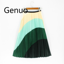2019 New Srping Summer Women Skirts Cartoon Printing Midi Pleated Skirt Floral High Elasticity Jupe Femme Green Plus Size