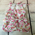 Little Girl Bubble short Romper Floral backless halter bubble romper shabby chic summer baby playsuit 1pc Toddler Swag romper