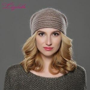 Image 2 - LILIYABAIHE חדש סגנון נשים בימס חורף כובע סרוג צמר אנגורה פסים כובעי מעודן מכתב קישוט כובע כפול כובע חם