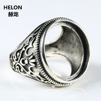 Fine Jewelry Thai Silver Sterling Silver 925 Engagement Wedding Main Ring Round Cabochon 20x20mm Semi Mount