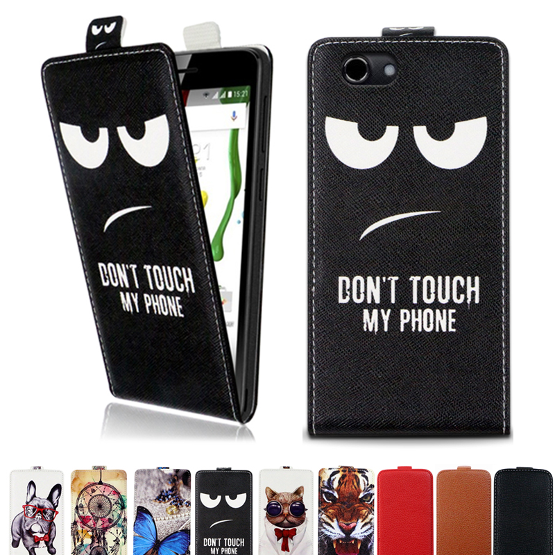 Printed Cool Cartoon Butterfly Tiger Owl Flip Up and Down Leather Case Cover for DEXP Ixion ML245 Electron