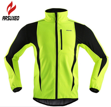 ARSUXEO Winter Men's Cycling Jacket Thermal Warm Fleece Windproof Outdoor Sports Coat MTB Bike Bicycle Cycle Clothing