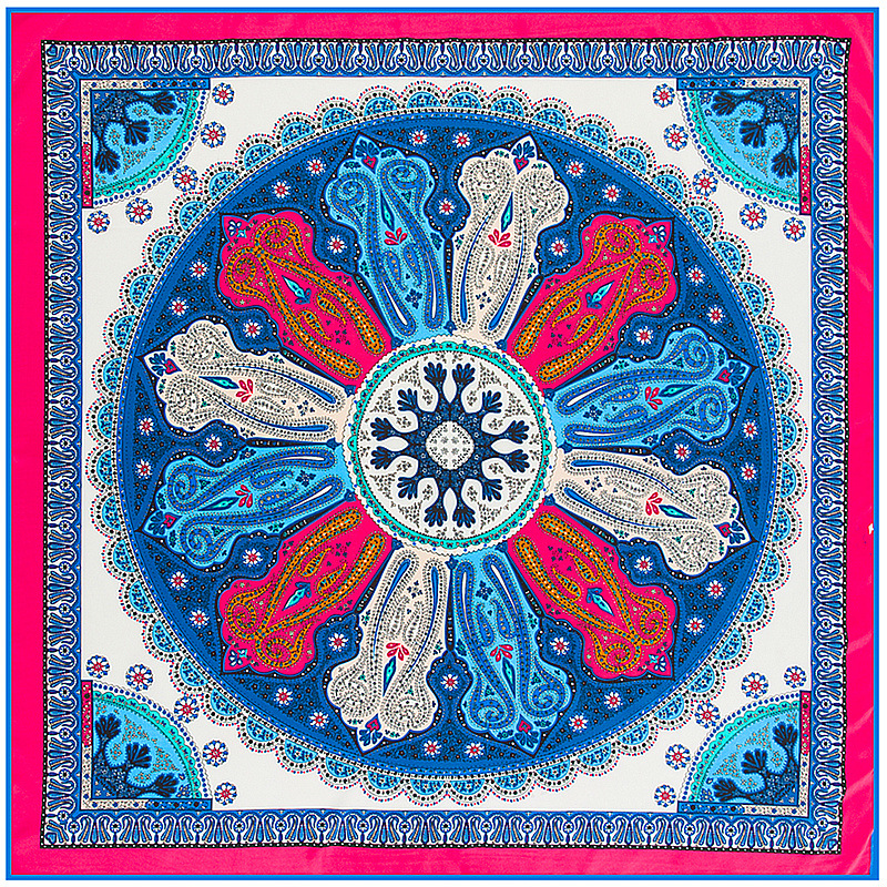 New Arrival 100% Twill Silk Square   Scarf   Women Bohemian Round Cashew Pattern Printed Shawl Luxury Brand   Scarves     Wraps   Hijab
