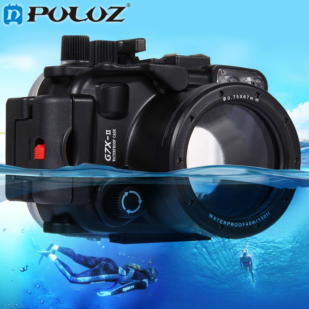 PULUZ 40m 1560 inch Depth Underwater Swimming Diving Case Waterproof Camera Bag Housing case for Canon G7 X Mark II G7 X G7X meikon 40m 130ft waterproof camera housing case for canon g7x 8 8 36 8mm camera camera underwater bags case for canon g7x