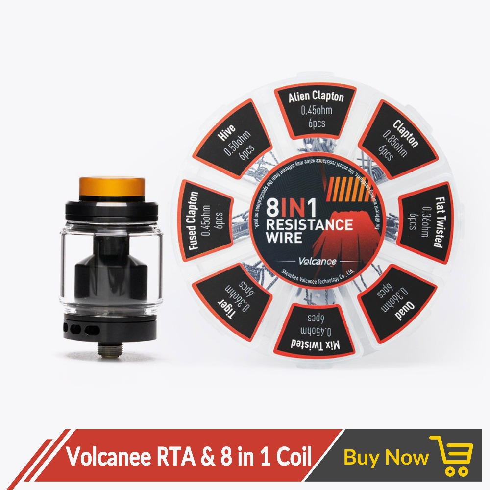 Volcanee Dual Coil RTA Atomizer With 8 In 1 Prebuilt Coil Vaper Cotton For Electronic Cigarette Liquid Box Mod Juice Vape Tank