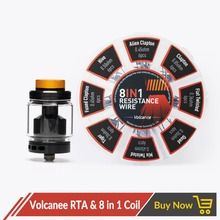 Volcanee Dual Coil RTA Atomizer with 8 in 1 Prebuilt Coil Vaper Cotton for