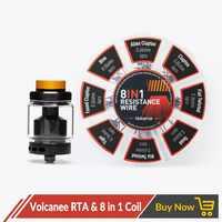 Volcanee Dual Coil RTA Atomizer with 8 in 1 Prebuilt Coil Vaper Cotton for Electronic Cigarette Liquid Box Mod Juice Vape Tank