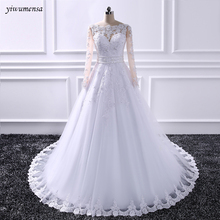 yiwumensa Skin Tulle Applique Wedding Dresses 2018 wedding Bridal gowns Beading waist with bow wedding dress vestidos de noiva