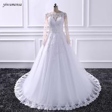yiwumensa Skin Tulle Applique Wedding Dresses 2018 wedding Bridal gowns Beading waist with bow wedding dress vestidos de noiva