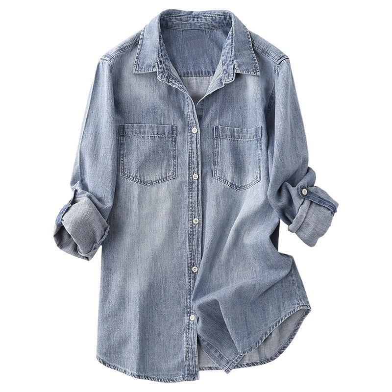 2019 été nouveau 100% coton denim femmes chemises bleu cool slim lavé dame blouse vêtements d'extérieur manteau dessus de chemise