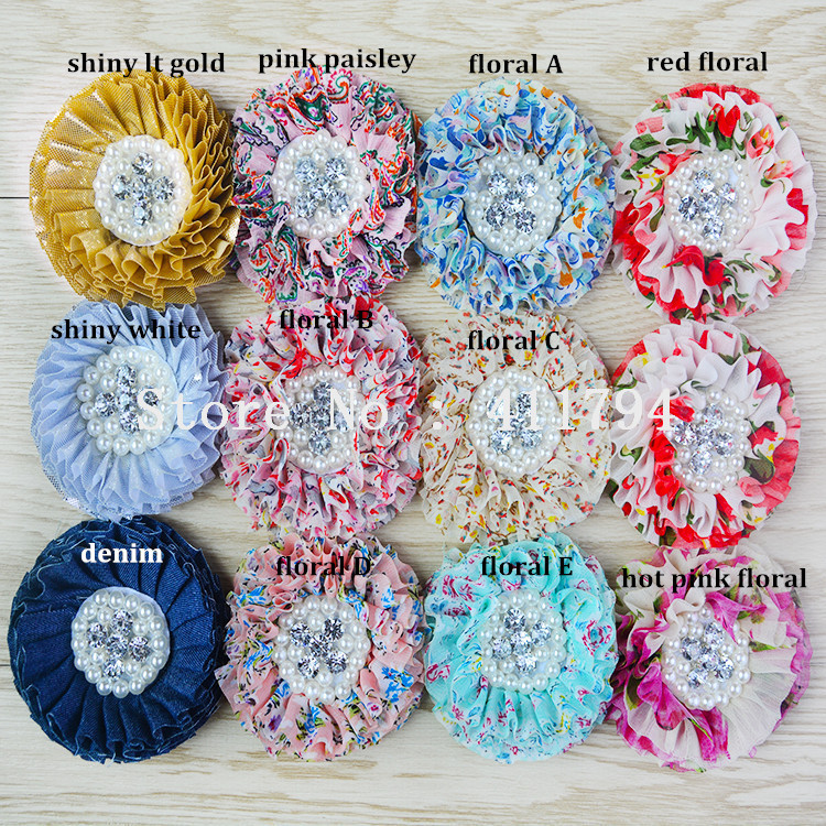 50 pcs lot 8cm shabby shiny flower chiffon flower with pearl and rhinestone headband hair accessories