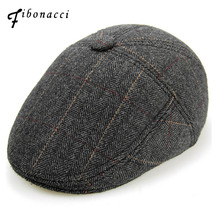 Fibonacci 2017 New High Quality Wool Plaid Beret Hats For Men Caps Inside Plush Newsboy Hat