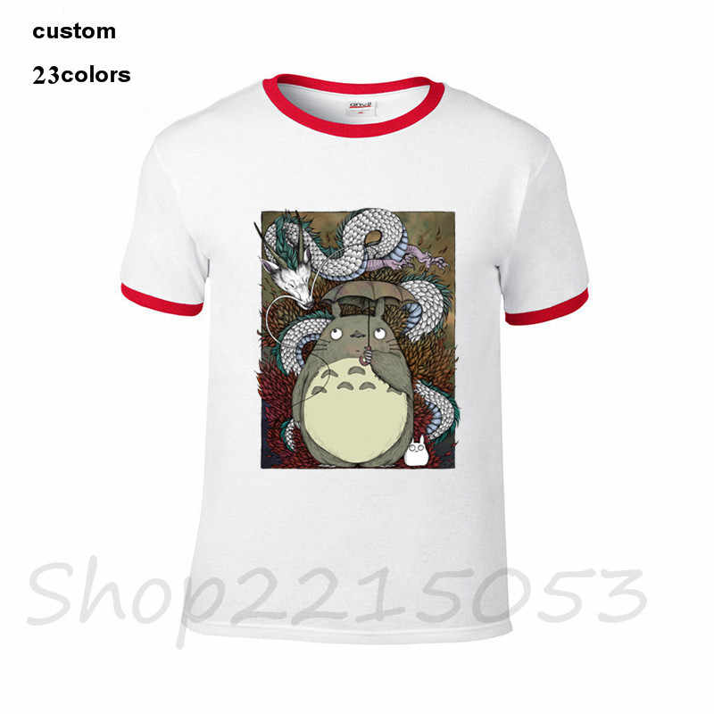 2018 Hot Cheira a Chuva dos desenhos animados Dragon ball Z Totoro Mens t camisas pretas pokemon traje de verão de manga curta masculina tv t-shirt