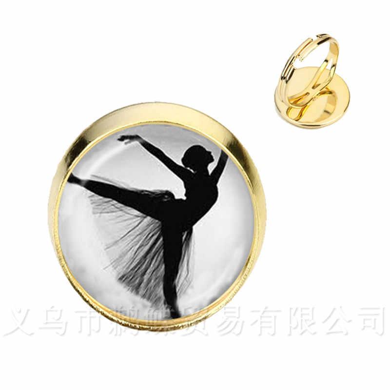 Elegante Balletto di Danza Anelli Irlandese Danza Ginnastica Dancer Ballerina Argento/Golder 2 di Colore Regolabile Anelli Regalo