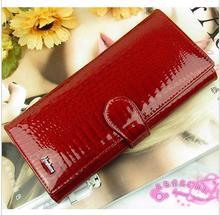 Classic crocodile pattern cowhide leather long design women wallet genuine leather japanned female wallet