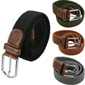 Mens Woven Stretch Braided Elastic Leather Buckle Belt Unisex Waistband Belts-J117