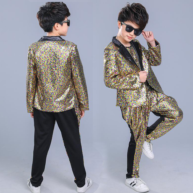 Kids Sequined Pants Jacket Coat Hip Hop Clothing  Jazz Dance Costumes Suit Boys Carnival  Stage Wear Ballroom Dancing Outfits