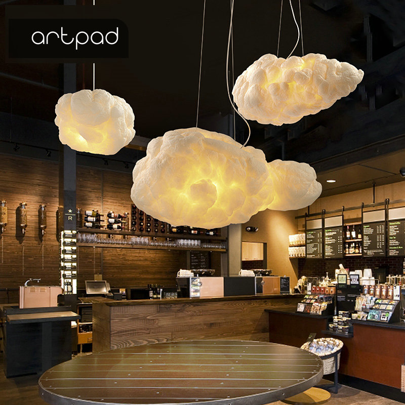Artpad Creative White Cloud Pendant Lamp AC110V-220V Silk Cotton E27 LED Stairwell Pendant Lights For Coffee Shop Children Kids