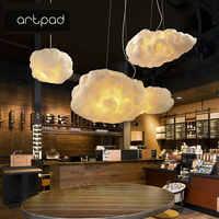 Artpad Creative blanc nuage pendentif lampe AC110V-220V soie coton E27 LED escalier pendentif lumières pour café-restaurant enfants