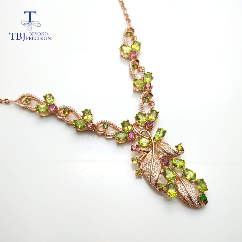 TBJ,New Party luxury design with natural peridot gemstone necklace in 925 sterling silver fine jewelry for lady with gift box