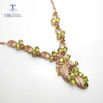 TBJ,New Party luxury design with natural peridot gemstone necklace in 925 sterling silver fine jewelry for lady with gift box - DISCOUNT ITEM  8% OFF All Category