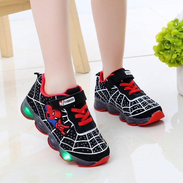 led mesh spiderman kids shoes children boys girls led luminous sport sneakers  baby children kids casual mesh sneakers shoes 3